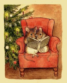 Mice reading by Christmas tree