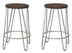 Wood Top Counter Stool in Chrome