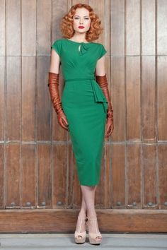 Vintage-style 40s green dress
