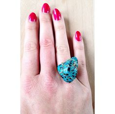 Blue Dalmatian Stone Ring in Gold Filled boho by UrbanGypsyGems
