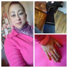 Pregnancy fashion Amo rosa, este meu casaco de soft ( Trench Coat), cachecol animal print, bota country c tachinhas e jeans for use, linda, acessórios rosa para fechar o look monocromático