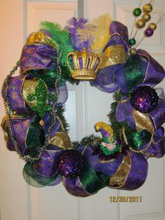 Coronation Deco Mesh Wreath for Mardi Gras!