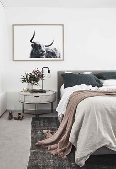 "Master bedroom: A mix of elements – low-pile carpet from Mr Carpet, cool linen bedding from In Bed and a textural bedside table from Bisque Traders – delivers refined style. ""Ryan and I found this rug Stylish Bedroom, Cozy Bedroom, Bedroom Inspo, Modern Bedroom, Master Bedroom, Bedroom Decor, Master Suite, Carpet Diy, Home Carpet"