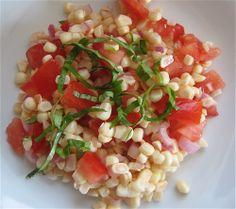 Grilled Corn & Tomato Salad With Basil Oil Recipes — Dishmaps