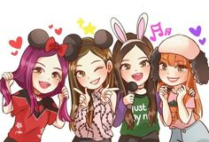 BLACKPINK anime version- Did anyone else absolutely love Blackpink on Weekly Idol? I want them to visit again! Best Friend Drawings, Kpop Drawings, Cartoon Drawings, Cute Drawings, Chibi, Fille Anime Cool, Pink Drawing, Character Art, Character Design