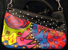 Hand painted purse long strap compartments leather by monapaints, $189.00
