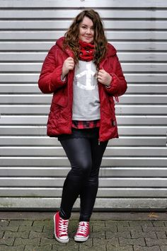 ThePlusSizeBlog.com - Plus Size Outfit - gray sweatshirt, red jacket, red converse, leather leggings.