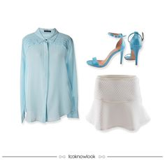 Something Blue | Camisa de Seda + Saia Off + Sandália de Tiras #moda #look #outfit #looknowlook