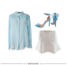 Something Blue | Camisa de Seda + Saia Off + Sandália de Tiras #moda #look #outfit #looknowlook