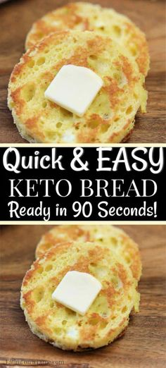 Are you looking for a quick and easy, keto friendly bread recipe? This 90 second keto bread recipe is made in the microwave with almond flour and is the best low carb bread recipe. Enjoy this bread alone or with one of our other amazing keto recipes! Best Low Carb Bread, 90 Second Keto Bread, Low Carb Keto, Best Low Carb Recipes, Keto Carbs, Low Carb Food, Easy Keto Recipes, Low Calorie Bread, No Carb Bread