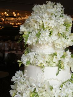 A fresh design to replicate the look of a Sylvia Weinstock cake.  Our client's dream since she was a little girl.  (No pressure there, right?)