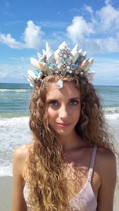 Check out this item in my Etsy shop lovebudsetc… Festival Gear, Festival Costumes, Festival Camping, Crown Hairstyles, Wedding Hairstyles, Underwater Sculpture, Shell Crowns, Seashell Crown, Mermaid Crown