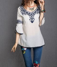 3/4 Sleeves Scoop Neck Ethnic Totem Pattern Embroidered Bordered Ladylike Women's BlouseBlouses | RoseGal.com