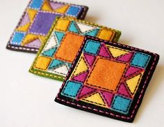 Inspiration: Sew Sweet Stitches 2019 a fresh take on traditional patchwork. Felt applique and embroidery in rockin modern color combos. The post Inspiration: Sew Sweet Stitches 2019 appeared first on Wool Diy. Felted Wool Crafts, Felt Crafts, Fabric Crafts, Pochette Diy, Felt Coasters, Wool Quilts, Felt Applique, Applique Pillows, Felt Brooch