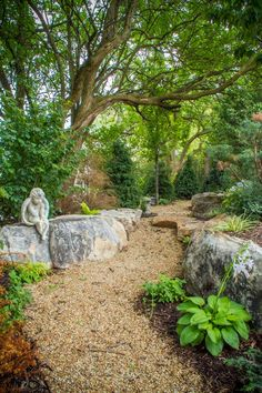 Create a winding garden path with crushed stone or river rock. Add larger boulders for visual interest and soften edges with plants.