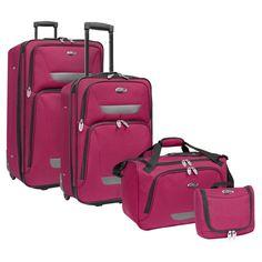Travelers Choice US Traveler Westport 4 Piece Expandable Rolling Luggage Set Plum