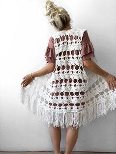 Gypsy Vest Crochet Pattern – Knits 'N Knots Winnipeg Crochet Vest Pattern, Kimono Pattern, Crochet Shirt, Crochet Cardigan, Crochet Patterns, Single Crochet Stitch, Basic Crochet Stitches, Gilet Kimono, Boho Crochet