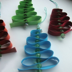 Ribbon trees  (Ribbon, beads, and embroidery floss.)