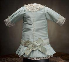 "Antique French Aqua Silk Dress for Jumeau Bru Steiner Bebe doll about 16-17"""