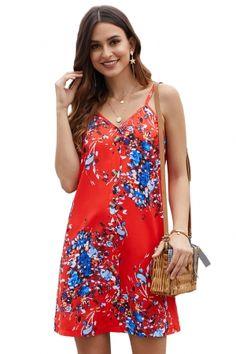 4e5486b8de Dropship Floral Dresses - US$ 6.21Orange Floral Pattern Buttoned Slip Cami  Dress