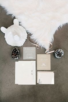Mountain-Luxe Winter Wedding in Lake Tahoe, Winter-Themed Wedding Invitations from Aerialist Press | Brides.com