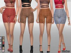 PZC Elegant Suede Shorts by Pinkzombiecupcakes at TSR via Sims 4 Updates