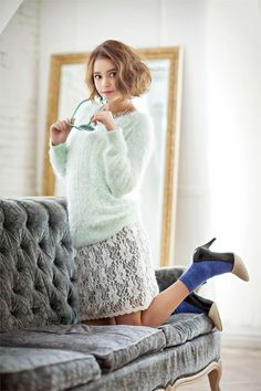 Model / Cecil Kishimoto. pale blue knit dress. Cute fashion by Image.