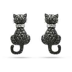 Black CZ Kitty Cat Earrings ($25) ❤ liked on Polyvore featuring jewelry, earrings, cz jewelry, cubic zirconia jewelry, stud earrings, cubic zirconia stud earrings and cz jewellery