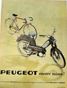1966 - Peugeot Moped and bicycle . Velo Vintage, Vintage Cycles, Peugeot Bike, Peugeot France, Moto Scooter, Side Car, Pregnancy Pillow, Vintage Images, Cars And Motorcycles