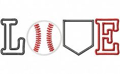 Baseball and Softball Love 5x7 and 6x10 by HoopMamaEmbroidery