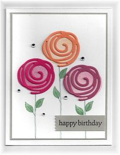 The card - swirl die cuts and stamped images are from SU. I drew the lines for the flower stems with a marker. This stamp set and dies...