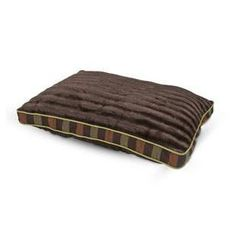 PETMATE 29 X 40 GUSSET DARK BROWN WITH STRIPES PILLOW BED - BD Luxe Dogs & Supplies