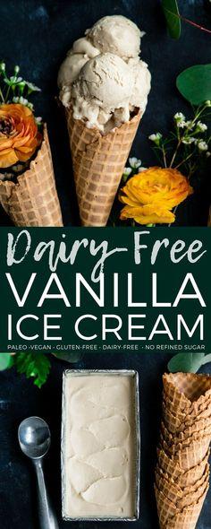 The creamiest homemade dairy-free vanilla ice cream ever! Made with only 5 ingredients and is vegan, paleo, gluten-free & refined sugar free! #paleo #glutenfree #dairyfree #icecream #vegan #vanillaicecream #homemade #recipe #healthydessert #healthy  via @joyfoodsunshine