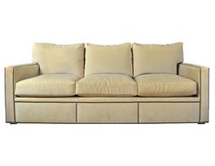 Sofa Pillows Custom Cream Velvet Sofa with Nail Head Trim