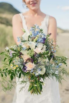 A Wild Blue Bouquet for a Beach Wedding