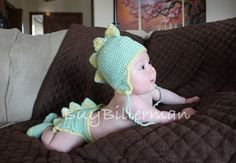 Crocheted Newborn Baby Dinosaur Hat  and Diaper Cover Set Photo Prop on Etsy, $33.00