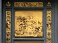 Adam and Eve, copy of the original bronze panel of the Gates of Paradise by Lorenzo Ghiberti, Florence Baptistery, Florence. (This is a representation of the Bible, since most people did not read, each panel of the door is a verse of the Bible)