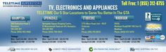 Teletime - 4 locations in GTA to serve you better in TV, Electronics and Appliances