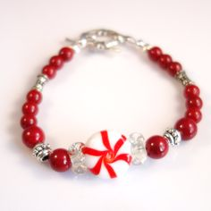 Women's Christmas Peppermint with Red Beaded Bracelet by DungleBees on Etsy