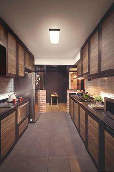 Kitchen Sets, Kitchen Dining, Kitchen Decor, Wood Kitchen Cabinets, Kitchen Furniture, Furniture Design, Contemporary Kitchen Design, Interior Design Kitchen, Parallel Kitchen Design