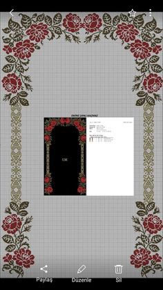 This post was discovered by Nesrin Özlek. Discover (and save!) your own Posts on Unirazi. Cross Stitch Rose, Cross Stitch Borders, Cross Stitch Flowers, Cross Stitching, Cross Stitch Patterns, Crochet Patterns Filet, Arabesque Pattern, Palestinian Embroidery, Prayer Rug