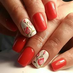 30 Elegant Red Nails Designs - Hairstyles Hair More - nail designs Matte Nails, Diy Nails, Acrylic Nails, Diy Wedding Nails, Red Nail Designs, Nails 2018, Flower Nails, Trendy Nails, Spring Nails