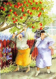 "Wall Decor-Wall Art  Print - Inge Löök's Old Ladies-Awesome Grannies-Wrinkles-Ladies--Funny Grannies Print 8 x 10"""
