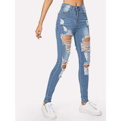 159f32593b9 Ripped Bleach Wash Skinny Jeans