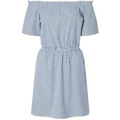 Miss Selfridge Ticking Stripe Bardot Dress ($32) ❤ liked on Polyvore featuring dresses, blue, miss selfridge, blue dress, blue cotton dress, summer day dresses and cotton summer dresses