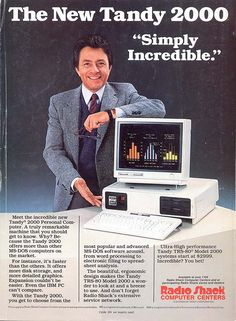 retro photo computers | ... Bill Bixby likes the Ultra-High performance Tandy 2000 computer - 1984