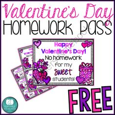 Valentines Day Homework Pass - FREE -  from A Teachable Teacher on TeachersNotebook.com -  (3 pages)  - Please enjoy these FREE Valentine's Day Homework Passes!  It comes in three different sizes, so choose the one that best meets your needs!