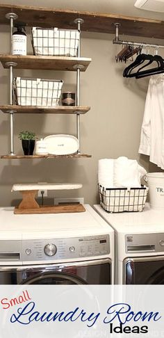 Tiny laundry room space-saving idea – hanging pipe shelves to get lots more space in this small laundry room. Tiny laundry room space-saving idea – hanging pipe shelves to get lots more space in this small laundry room. Tiny Laundry Rooms, Laundry Room Shelves, Laundry Room Remodel, Basement Laundry, Laundry Closet, Laundry Storage, Laundry Room Organization, Laundry Room Design, Mud Rooms