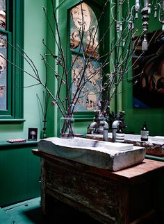 patternsnap In the style-clashing but fabulous bathroom, a French stone basin sits confidently alongside an industrial brass tap and David Bromley painting. Eclectic Bathroom, Eclectic Decor, David Bromley, Stone Basin, Brass Tap, Magical Home, Melbourne House, Green Home Decor, Beautiful Bathrooms