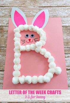 Letter of the Week Crafts are a fun way to learn and practice the alphabet. Practice the letter B with this bunny craft for kids! It's a great alphabet activity and fun around Easter too!